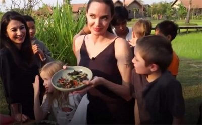 Angelina Jolie alimenta os filhos com aranhas e escorpiões
