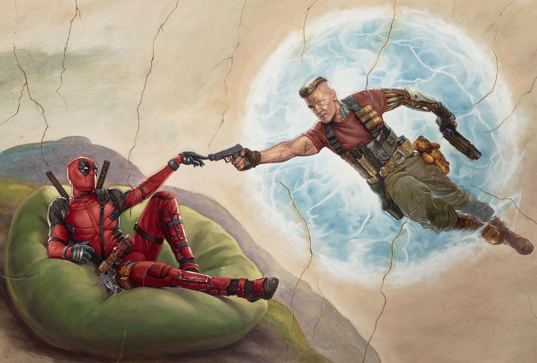Novo pôster de Deadpool 2 parodia pintura de Michelângelo