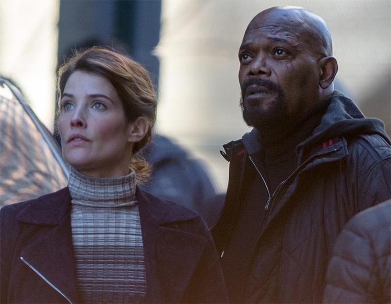 Samuel L. Jackson e Cobie Smulders são flagrados em filmagens da Marvel